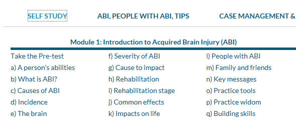 The 'Self Study' main menu item with the tabs 'Introduction to ABI' and 'Working with ABU'
